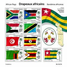More details for togo african flags stamps 2020 mnh uganda sudan zimbabwe coat of arms 9v m/s