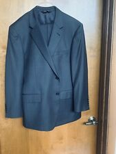 Jos A Bank 2 Piece Pin Stripe Black Suit 100% Wool Size 44 S