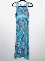 Lily Whyt Maxi Dress Floral Teal Colourful Bright Long Size 8