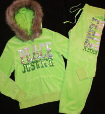 Justice Girls Lime Sequin Fur Velour Hoodie Jacket Pants Set Tracksuit Size 16