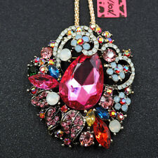 New Shiny Colorful Crystal Flower Enamel Pendant Betsey Johnson Chain Necklace