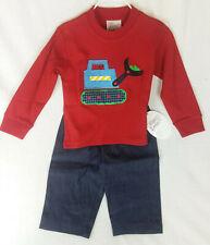 Mulberry Street Brand Boy's Pants Top Clothing Set Bulldozer Applique