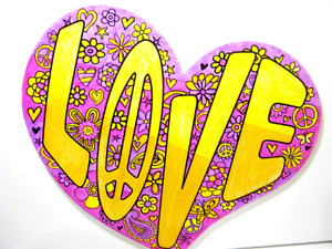 """Classic Colorful Painted Glittery Retro """"LOVE""""  Peace Wood Sign  15 inch"""