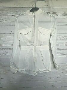 KSUBI womens size XS long sleeve play suit silk blend ivory romper #752