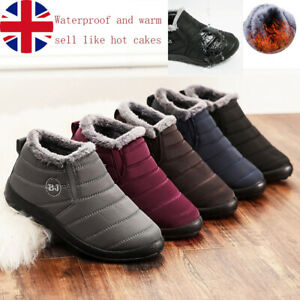 Women Warm Snow Boots Fur Lining Ankle Boots Waterproof Non-slip Flat Shoes Warm