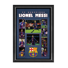 LIONEL MESSI BARCELONA FC HAND SIGNED FRAMED SOCCER PHOTO COLLAGE SUAREZ RAKITIC
