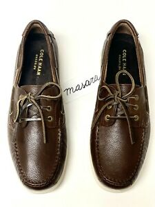 Men Cole Haan Harpswell 3 Eye Boat Lace Up GRAND.ØS Cushioned Shoe Chestnut Waxy