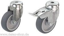 Apparaterollen Gummi grau Rückenloch 50 75 100 125 Lenkrolle Transportrolle