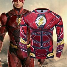 Superhero the Flash Mens Costume Cosplay Compression Gym Workout Fitness T-shirt