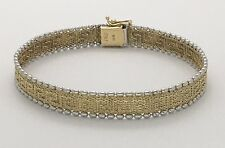 14K TWO-TONE GOLD GREEK KEY BRACELET SIZE 7 1/4""