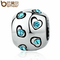 Bamoer European DIY Silver Blue CZ Charms  Beads Fit Bracelets necklace Jewelry1