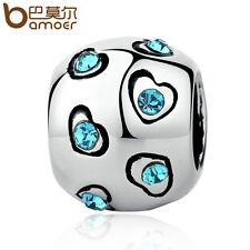 Bamoer European DIY Silver Blue CZ Charms  Beads Fit Bracelets necklace Jewelry1