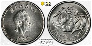 1982 Zambia 5 Ngwee PCGS SP67 Kings Norton Mint Proof