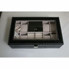 8 Slot Black Leather Jewelry Watch Ring Box Case Glass Top Display Crocodile