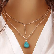 Modeschmuck Halskette Doppel Kette Künstlich Türkis Anhänger
