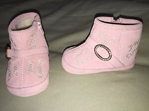 EUC JUICY COUTURE INFANT 2 TODDLER GIRLS BOOTS PINK ZIPPER GOLD ACCENTS