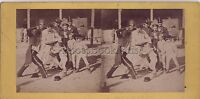 Escena De Género Combat Niños Foto Estéreo Vintage Albúmina Aprox 1865