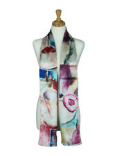AamiraA Abstract Painting Mulberry Satin Silk Stole Women Scarf Free Shipping