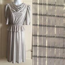 70's Vintage Shiny Silver Poly Disco Dolman Wiggle Drape Dress Peplum Lines Sz 7