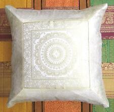 Kissenbezug Kissenhülle Brokat weiß-A 43x43 Bollywood Indien Sari Sofa Event