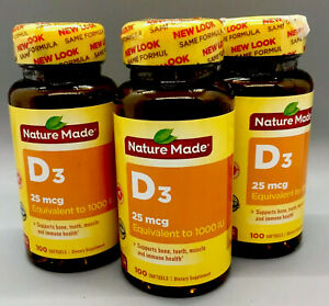 Nature Made Vitamin D3 25mcg 1000 IU Bone Health 100 Tablets (3 Pack) Exp 1/22+