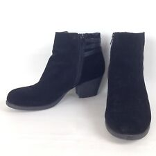"""WHITE MOUNTAIN Womens """"Della"""" Sz 8.5M Black Leather SUEDE Ankle BOOTS Heels"""