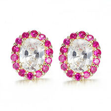 Ruby 10k Solid Yellow Gold Stud Earrings