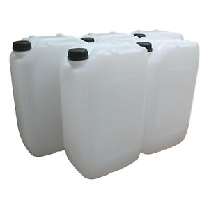 5 x 25 Litre Natural HDPE Stackable Jerry Can Drum Container 950g  60mm Caps 25L