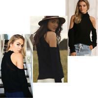 Ladies Off Shoulder Knit Sweater Xmas Jumper Chunky Knitted Top Oversize Wrap UK