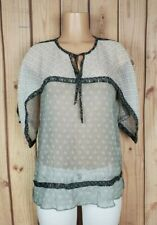 BEST MOUNTAIN Womens Size 3/4 Sleeve Shirt Floral/Geo Print Sheer Poly Top