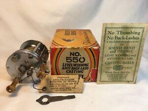 "Vintage ""South Bend #550 Anti Backlash Reel + Box,Instructions, Hang Tag, Wrench"
