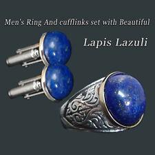 Set for men's cufflinks+ Men's Ring set With Egyptian Lapis Lazuli  Handmade 925
