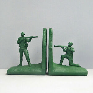 Green Soldier Bookends - White Moose Designs - Resin Toy Army Man Book Ends