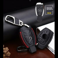 Mercedes-Benz Key Leather Case Cover Bag Car Logo Keyring Chain