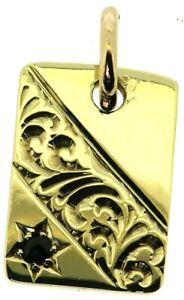 9Carat 9ct yellow gold small ID dog tag pendant rectangle sapphire engraved