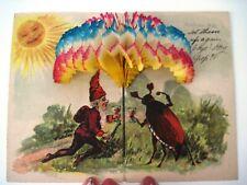 Fantastic 1908 German Postcard w/ Honeycomb Decoration, Elves & Bugs
