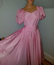 Vintage prom dress pink retro pink poofy sleeve drag beauty queen pageant 70/80s