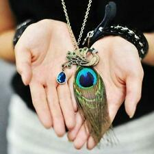 Nice Gorgeous Beautiful Women's Blue Eyes Peacock Long Feather Necklace XV0 BT