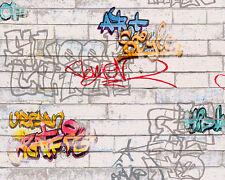 AS Tapete grau weiß Kinder Jugend Teens Schrift Grafitti Mauer 93561-1