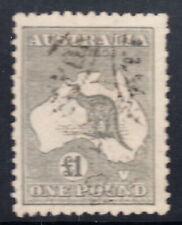 1924 - Kangaroo £1 Grey Several pulled perfs at right  ACSC $500