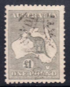 1924 - Kangaroo £1 Grey Several pulled perfs at right  ACSC $500