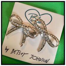 BLUE BETSEY Johnson La La Bow Bridal Pave Rhinestone Crystal Statement Earrings
