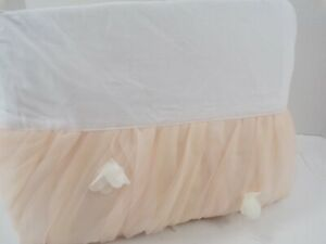 """Pottery Barn Kids Monique Lhuillier Ethereal Bed Skirt Twin 16"""" Drop Blush #8348"""