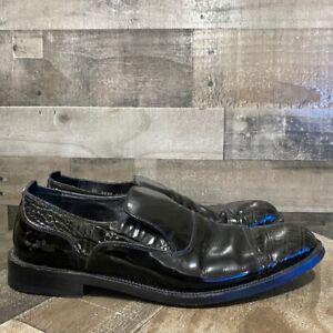 Gianni Versace Mens Loafer Dress Shoes Black Crocodile Embossed Slip On 8.5