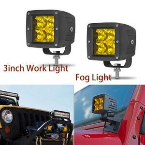 "2x 3"" Amber LED Work Light Bar Pods Offroad Fog Driving Lamp Spot Truck SUV ATV"