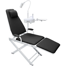 Portable Dental Folding Chair with Led Lamp +Waste Basin + Basin Support Black