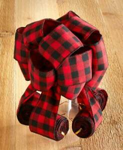 Cascading Red & Black Checkered Wired Ribbon Christmas Tree Topper