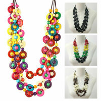 Boho Wooden Beads Necklace Coconut Shell Pendant Exaggerated Multi-layer Acces