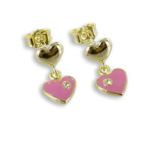 Earrings Children Real 333 Gold Hearts Earrings Heart-shaped rosé enamelled