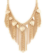 Chain And Tassel Necklace With Heart Accents - Gold Tone #N02